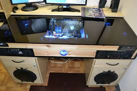 desk with built in computer case desk with built in pc music