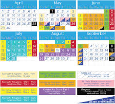 Six Flags In Kentucky 2018 Operating Calendar Kentucky Kingdom And Hurricane Bay