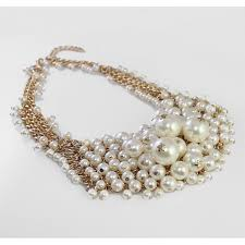 pearl bib statement necklace images White ivory pearls crystal cascade bib statement necklace jpg