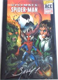 ultimate spider man 1 wizard ace signed mark bagley venom