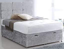 Crushed Velvet Bed Superior Crushed Velvet Silver 5ft King Size Ottoman Divan Bed Base