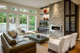 Open Seating Living Room Floating Shelves Glass Living Room Contemporary With Glass Front