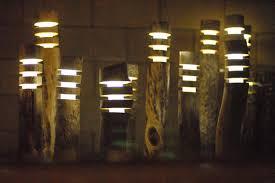 Bollard Landscape Lighting Driftwood Solar Lights Set Of 3 Wooden Artistically Crafted Into