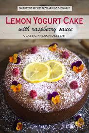 french lemon yogurt cake with raspberry sauce