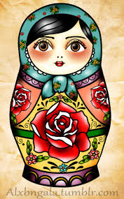 drawn doll nested pencil and in color drawn doll nested