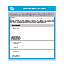 Spreadsheet Template For Budget 9 Vacation Budget Template Free Sle Exle Format