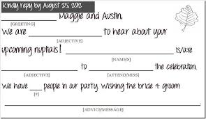 wedding mad lib template the golden means mailbox brought to you by wedding mad lib