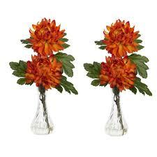 Mini Bud Vases 12 5 In H Orange Mum With Bud Vase Silk Flower Arrangement Set