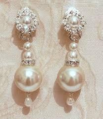 Vintage Pearl Chandelier Earrings Grace Victorian Style Bridal Earrings Wedding Rhinestone