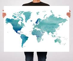 Real World Map World Map Blue Watercolor Art Print Poster Countries Names