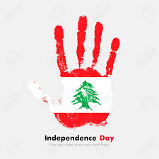 Old Lebanese Flag Hand Print Which Bears The Flag Of Lebanon Independence Day