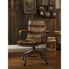 acme furniture hedia grain leather office chair in vintage
