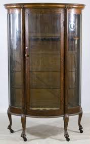 curved glass china cabinet beautiful qsawn oak triple curve glass china cabinet ebay curved
