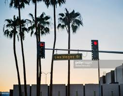 las vegas street lights sign with palm trees stock photo getty