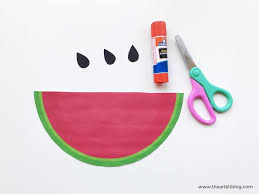 watermelon slices easy cutting and pasting paper craft for kids