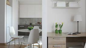mouvement cuisine 4k intérieur d appartement moderne dans le style scandinave avec la