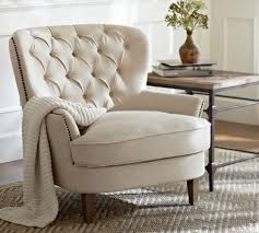 cardiff tufted upholstered armchair ivory pottery barn au