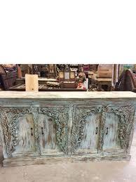 antique blue distressed hand carved sideboard florida
