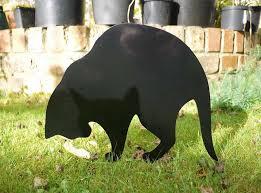 garden cat black metal cat