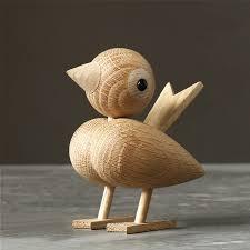 european original design white oak wooden bird in figurines