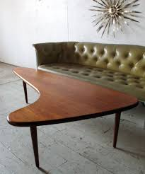 mid century danish modern teak boomerang coffee table mad men