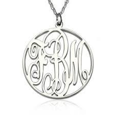 Engraved Monogram Necklace Personalized Monogram Necklace