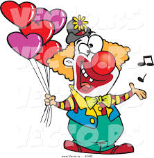 vector of a happy cartoon clown singing and holding valentines day