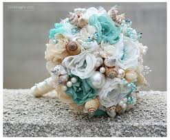 wedding bouquets with seashells seashells wedding bouquet for wedding turquoise and beige