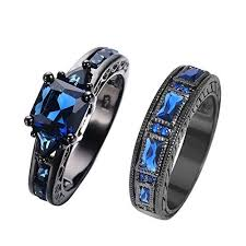 black gold sapphire engagement rings rongxing jewelry new sapphire set ring 14kt black gold