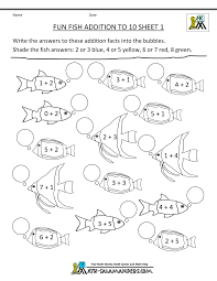 homeschool math worksheet fun addition to 10 fish 1 kelpies