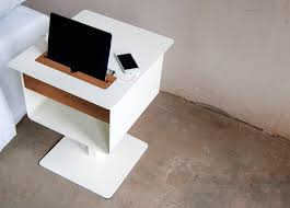 contemporary bedside table wooden square with integrated