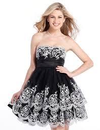 semi formal white and black clarisse prom dress 1334