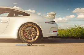 gold porsche gt3 white porsche 911 gt3 rocking gold adv 1 wheels car pictures