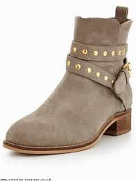 boots uk wide fit taupe v by arla wide fit suede stud flat ankle boot