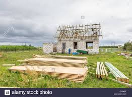 small house construction unfinished house in countryside building a house in european