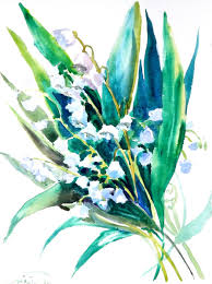 lilies of the valley original watercolor painting 12 x 9 in