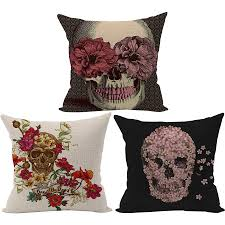 online buy wholesale skull home decor from china skull home decor rubihome wholesale 3pieces lot skull skeleton decorative cushion cover throw pillowcase polyester fabric