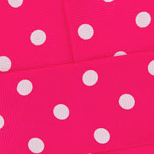 pink polka dot ribbon shocking pink with white dots grosgrain ribbon hbc