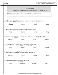 Antonyms and Synonyms Worksheets from The Teacher s Guide The Teacher s     FAMU Online