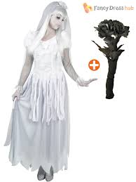 ladies ghostly corpse bride costume bouquet halloween fancy