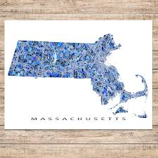 Ma Map Massachusetts Map Print Ma State U2013 Maps As Art
