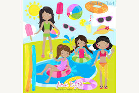 margarita time clipart girls pool party clipart illustrations creative market