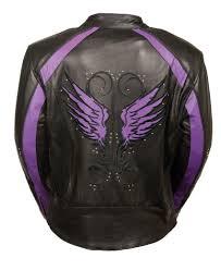 ladies motorcycle clothing purple angel wings black leather motorcycle jacket rivet work
