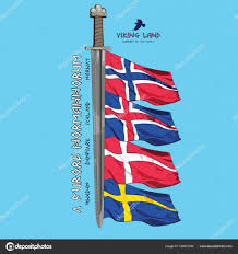 Flag Of Norway Design With A Sword Of The Vikings And The Flags Of The