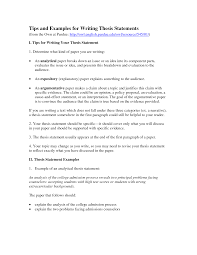 Resume Examples Examples On How To Write A Thesis Statement Image
