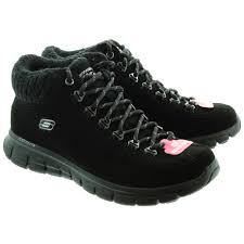 skechers womens boots uk skechers 12016 lace ankle boots in black in black