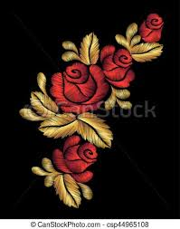 gold red rose necklace images Embroidery flower necklace ornament red rose vector vintage retro jpg