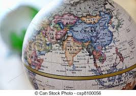 asia globe map globe south asia a globe is photoed by up stock image