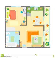 Apartment Floor Planner Apartment Floor Plan With Furniture Top View Vector Stock Vector