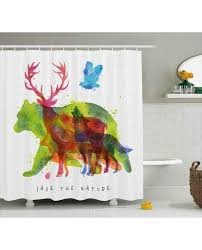 Animal Shower Curtains Shower Curtain Alaska Animals Wolf Print For Bathroom